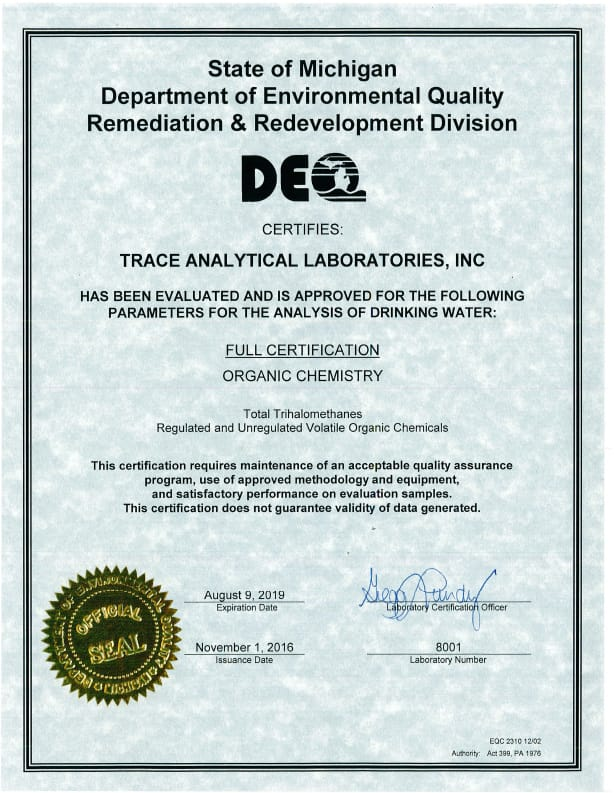 Certifications Trace Analytical Laboratories Inc